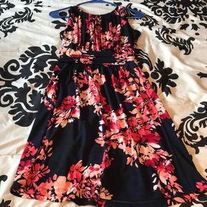 Navy and red/pink, knee length dress